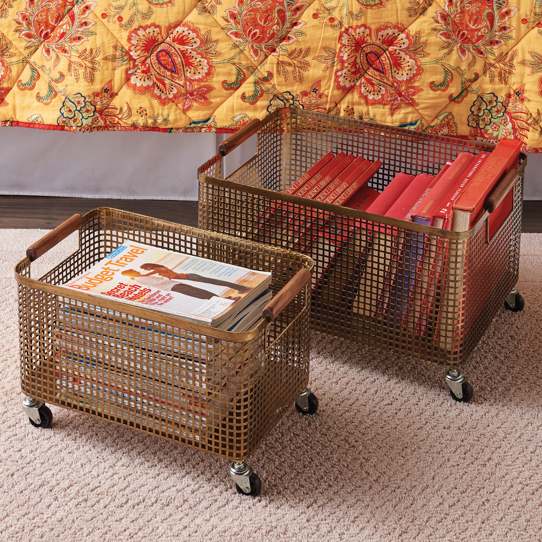 Maeve Metal Rolling Storage Bins, Set of 2,