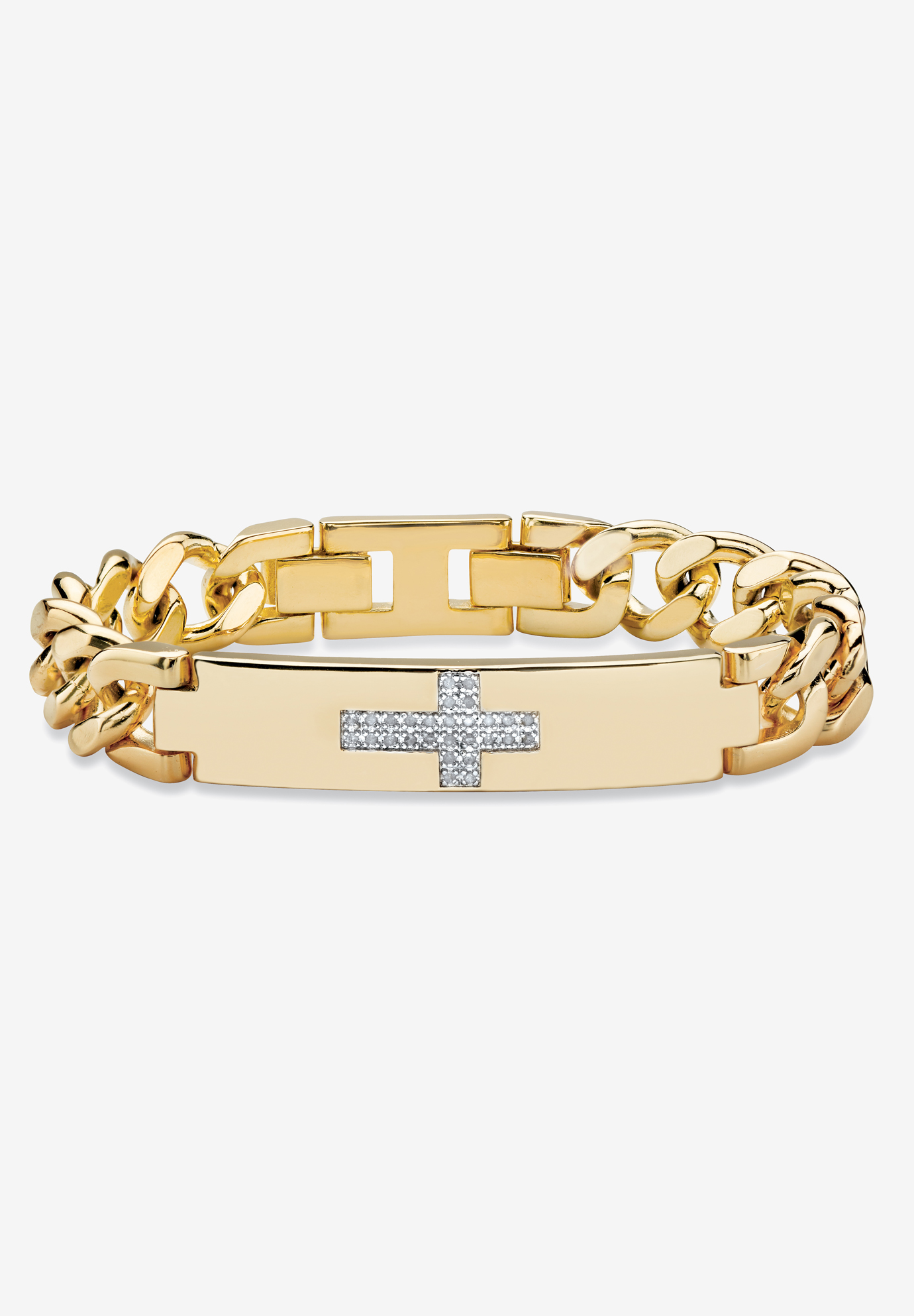 "9"" Gold-Plated Round Genuine Diamond Cross Curb-Link Bracelet, GOLD"