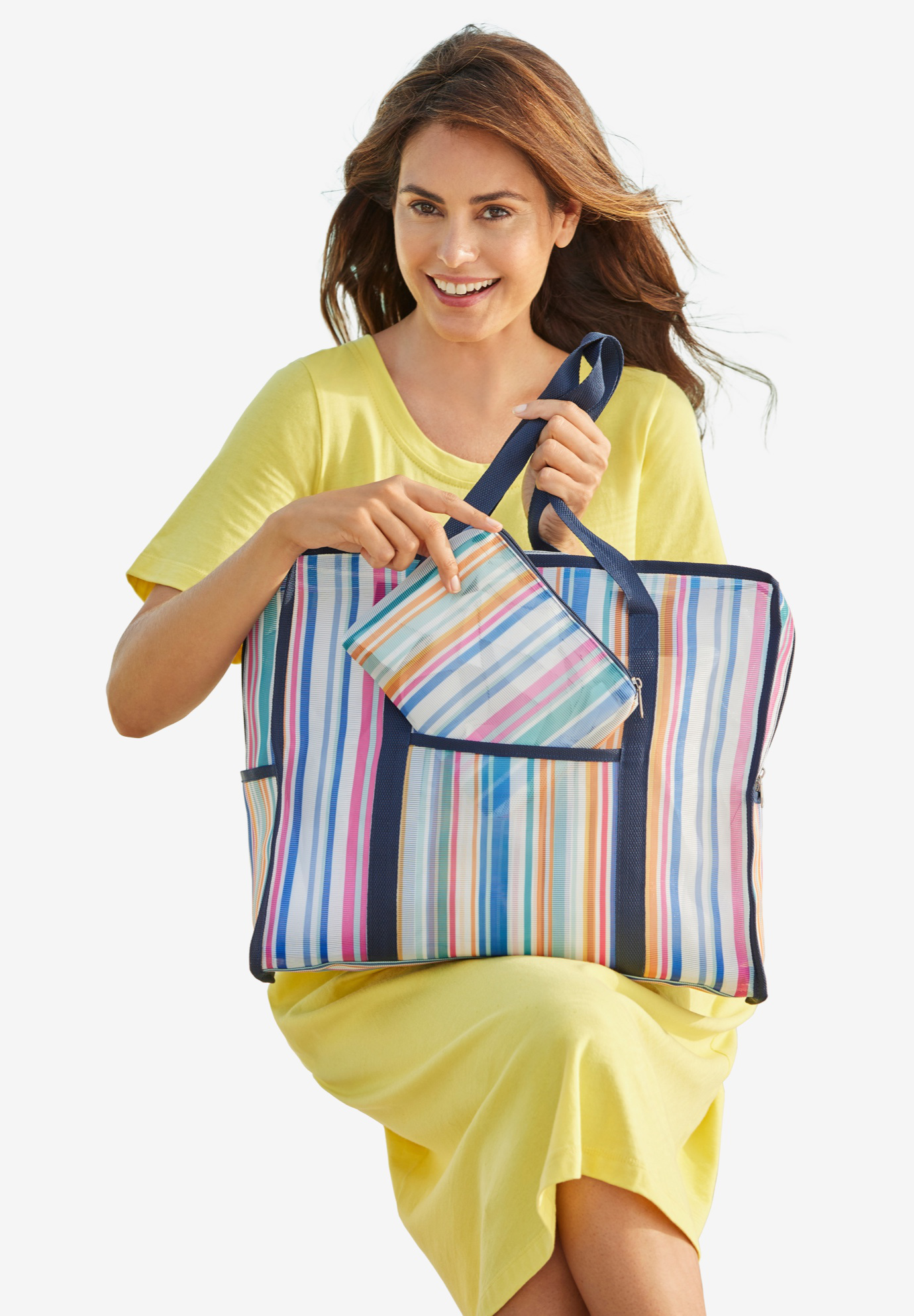 Two-Piece Mesh Tote Set, DEEP COBALT RAINBOW STRIPE