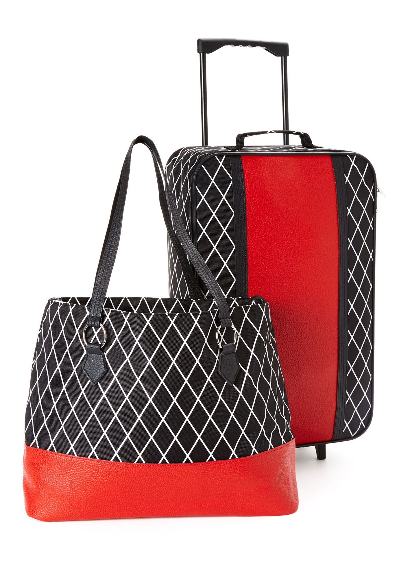 Rolling Trolley and Tote Set, BLACK DIAMOND PRINT