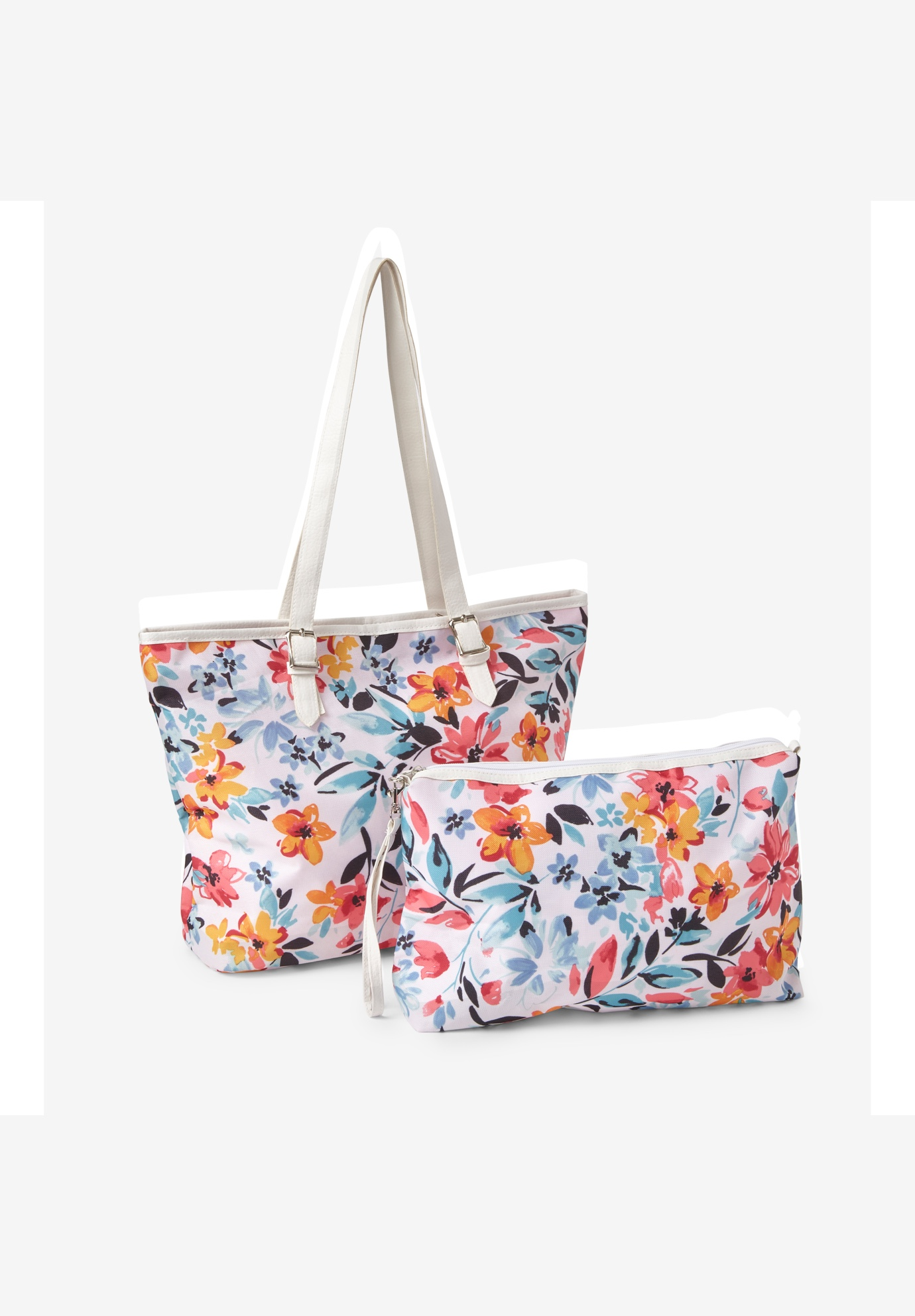 2-Piece Bag & Wristlet Set, WHITE PAINTERLY BLOOM
